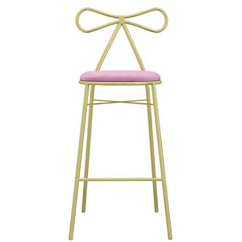 TXXM Taburete Moderno Minimalista Taburete de la Barra de Hierro Forjado Silla de Comedor Principal Butterfly Bar Silla con Respaldo Alto Taburete Alto (Color : Pink, Size : 45cm)