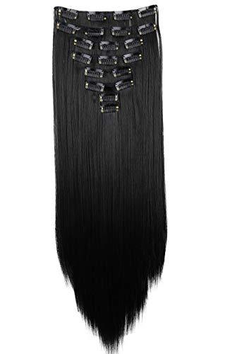 PRETTYSHOP XXL 60cm 8 Teile Set CLIP IN EXTENSIONS Haarverlängerung Haarteil Glatt Schwarz CES1