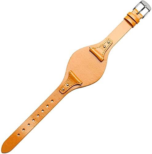 PINGZG Pulsera de Reloj de Cuero Genuino 18 mm Pulsera de Moda para Mujer Accesorios de Relojes Reloj Cinturón de reemplazo, cómodo Transpirable (Color : Yellow-Silver, Size : 18mm)