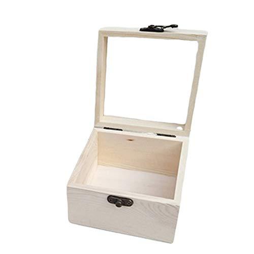 P Prettyia Natürliche Holzschatulle Holzkästchen Holzkiste Holzbox Schmuckkasten Schmuckbox mit Verschlussverschluss - 9x9x4,5cm