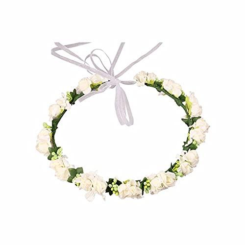 LATRAT Fée Couronne Floral Bandeau réglable avec Ruban pour Enfants Filles Couronne de Fleurs Style de Cheveux Blanc, Fleurs Artificielles Couronne Femmes avec des Guirlandes Réglables