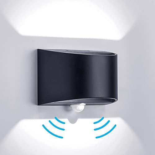 Temgin LED Apliques pared con Sensor de Movimiento Exterior Blanco Frío Negro Mate Lámpara de Pared Interior Aluminio Luz Nocturna para Pasillo Escalera Garaje Salón 7W