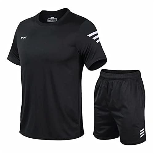 YYCHER Juego de 2 chándal para hombre, gimnasio, fitness, bádminton, ropa deportiva, juego de ejercicios (color: negro, tamaño: 4XL)
