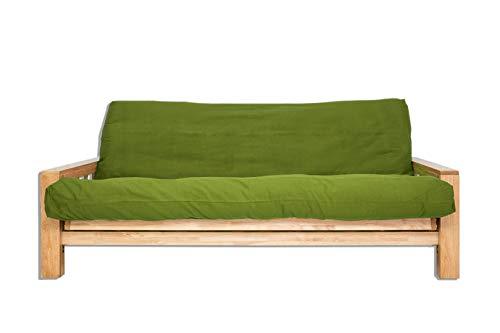 Futon On Line slaapbank Vienna, groene bekleding, 190 x 140 x 30 cm