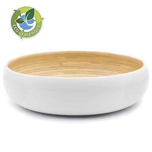 Dehaus® Groß Stilvolle Bambus Schüssel 30cm, als Obstschale, Salatschüssel oder Brotkorb, Obstkorb aus Holz, moderner Holzschale, große runde Schale (Weiß)