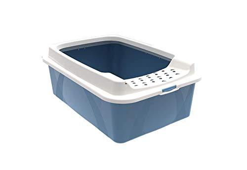 Rotho Bonnie, caja de arena baja con entrada superior, Plástico PP sin BPA, azul, blanco, M 57.2 x 39.3 x 20.9 cm
