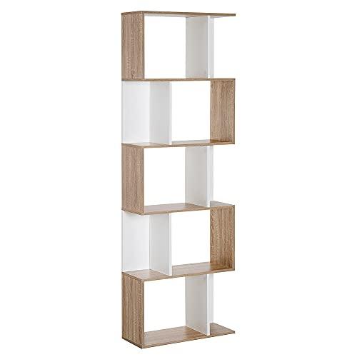 homcom Libreria Moderna 5 Ripiani Pratici Finitura Eccellente, Superficie Liscia e a Prova di umidità in Legno Truciolato Bianco 60×24×184.5cm