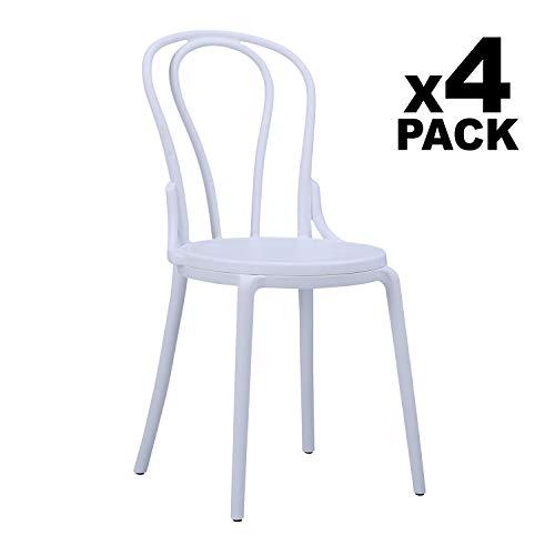 Adec - Thonet, Pack de 4 sillas de salón, Comedor, Cocina o terraza, Silla Contract, Color Blanco, Medidas: 44 cm (Ancho x 50,5 cm (Fondo) x 88,5 cm (Alto)