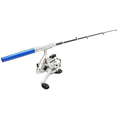 lzndeal Canne à pêche télescopique Pole Reel Mini Type de Stylo de Poche avec des Produits de pêche en Ligne de Ligne en Nylon Moulinet de pêche avec Ligne