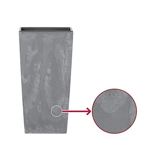 Kreher XXL Design Pflanztopf aus Kunststoff in Anthrazit Strukturiert Optik mit herausnehmbaren Einsatz. Maße BxTxH in cm: 40 x 40 x 75 cm. 91,5 Liter Volumen!