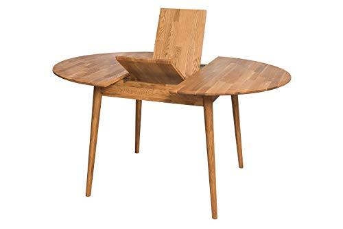 NORDICSTORY Escandi 4 Mesa de Comedor Nordica Extensible Redonda 120-155 cm, Madera Maciza Roble, Ideal para Cocina Salon, Muebles Diseño Estilo Nordico Color (Roble Natural)