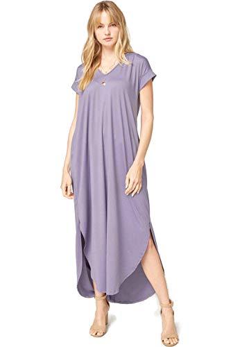 Entro Women's V Neck Short Sleeve Pocket Maxi Dress (Medium, Dusty Lavender)