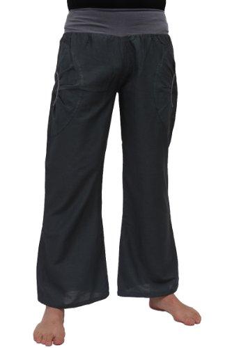 Yogahose aus Baumwolle, Pumphose, mit Stretch-Bund und Zwei praktischen Taschen - perfekt für Yoga und als Haremshose - Unisex für Männer und Frauen, S/M, Grau