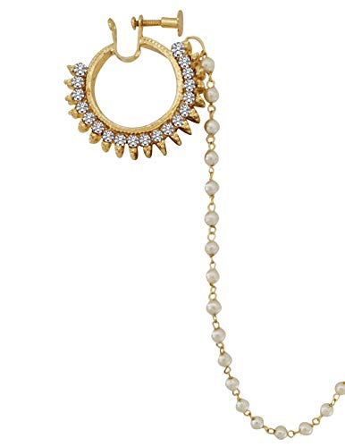 Total Fashion Gold Plated Kundan Nose Ring Nathiya Pearl with Long Chain from Alloy for Girls and Women
