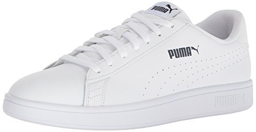 PUMA Men's Smash Leather Perf Sneaker, White-White, 11 M US