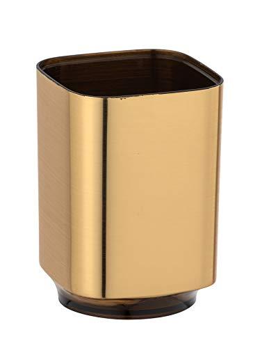 Wenko Zahnputzbecher Auron Gold, Zahnbürstenhalter für Zahnbürste und Zahnpasta, Kunststoff, 7 x 10 x 7 cm