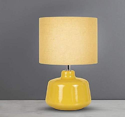 Nuevo efecto tejido Oslo pequeño ocre cerámica lámpara de mesa