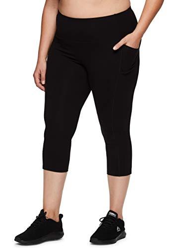 RBX Active Women's Plus Size Fashion High Waist Cotton Spandex Workout Yoga Capri Legging with Pockets S20 Black 2X