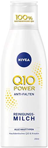 NIVEA Q10 Power Anti-Falten + Effektive Reinigung Reinigungsmilch für jünger aussehende Haut, (200 ml)