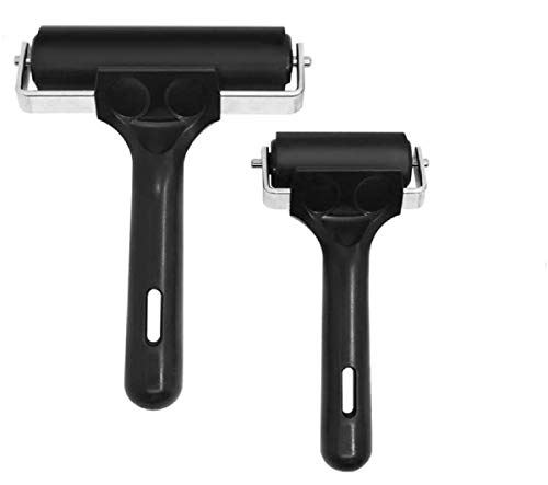 LUDING 2 rodillos de pegamento de goma, para herramientas de construcción de cinta antideslizante, herramientas de impresión, tinta y estampación, y aplicación de pegado de...
