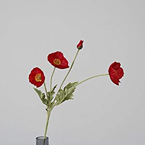 Kuidada 6 PCS Artificial Real Touch Poppies Decorative Silk Fake Poppy Flowers for Wedding Holiday Bridal Bouquet Home Party Decor Red