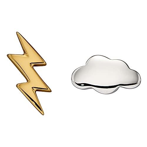 Beginnings - Pendientes de tuerca de plata de ley 925 para mujer, chapados en oro y nubes de plata y aligeramiento,