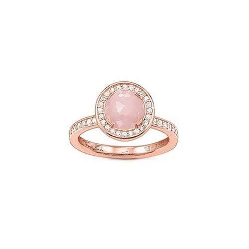 Thomas Sabo Damen-Ring Mondlicht Rosenquarz-Zirk. Solitärring Silber vergoldet Quarz rosa Brillantschliff Zirkonia Gr. 54 (17.2) - TR1971-417-9-54