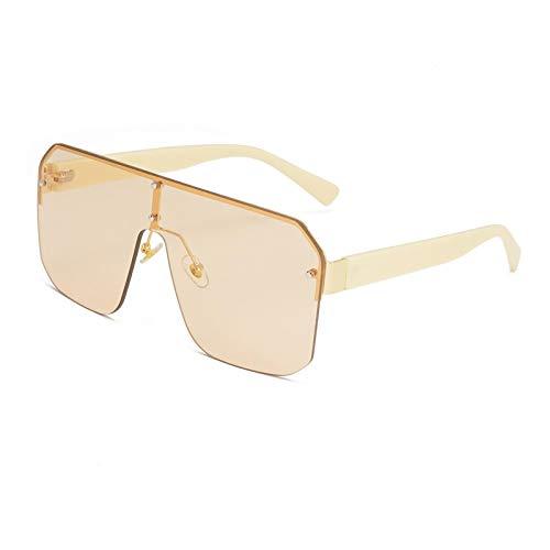 Gafas de Sol Gafas De Sol con Escudo Gradiente Vintage para Mujer Y Hombre, con Bloqueo De Seguridad, Rayos De Sol, Gafas Cuadradas Sin Montura, Gafas De Gran Tamaño C7