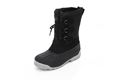 Mens Short Winter Snow Boots - Lace-Up Closure Comfortable Weatherproof Snow Boots Black