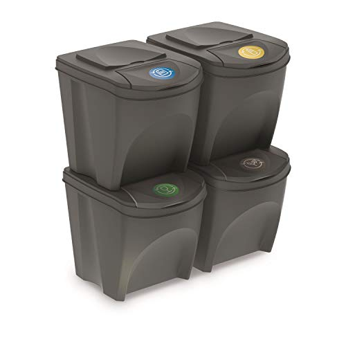 Prosperplast Set of 4 Recycling Bins 100L Sortibox Plastic in Grey, 4 x 25L