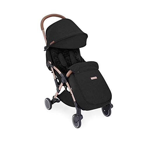Ickle Bubba Globe Max Stroller   Ultra-Compact Travel Pushchair   from Birth to 3 Years   UPF 50 Hood, Rain Cover, Seatliner & Footmuff, Cup Holder   Black on Rose Gold Frame