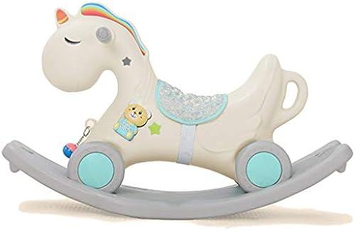Schaukelpferd QIQIDEDIAN Trojaner Pferd Spielzeug Baby Verdickung Größe Kunststoff Baby Schaukelstuhl 1-2 Jahre Alt (Farbe   Weiß)
