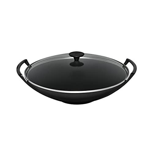 Le Creuset Wok de hierro fundido con tapa de cristal, diámetro 36 cm, 4.5 L, Negro Mate