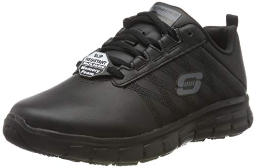 Skechers Sure Track-Erath-II, Zapatillas sin Cordones Mujer, Negro (BLK Black Leather), 39 EU