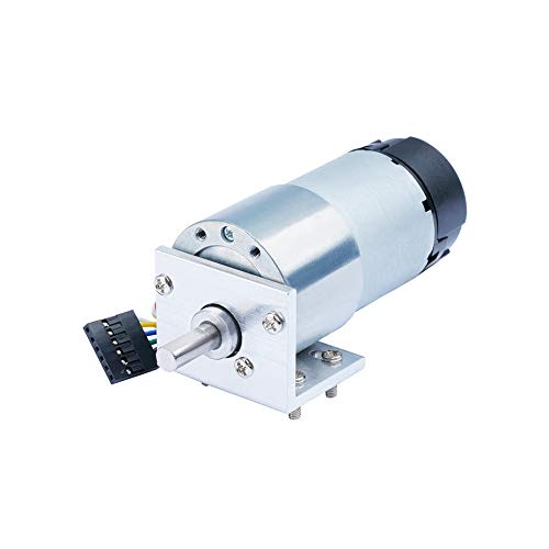 CQRobot 210:1 Metal Gearmotor 37Dx72.5L mm 12V with 64 CPR Encoder. with Mounting Bracket, 52 RPM/72 kg.cm (723 oz.in), D-Shaped Gearbox Output Shaft is 16 mm Long and 6 mm in Diameter.