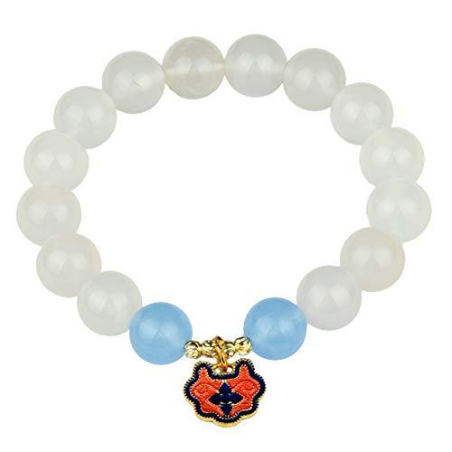 DFGHJH Feng Shui Buena Suerte Pulseras para Las Mujeres Natural White Agate Larga Life Lock Crystal Universal Ajustable para Buena Fortuna Valorosa Lucky Riqueza Energía Positiva