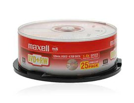 Maxell DVD+RW 4.7Gb 4x Spindle 25 rewritable maxell dvdrw blank 25 pack