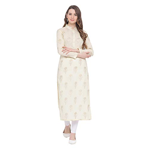 Indian Virasat Off-White Colored Cotton Gold Printed Long