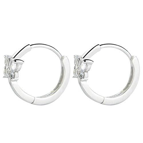 Ruby569y Pendientes colgantes para mujeres y niñas, pendientes de mariposa con incrustaciones de diamantes de imitación de imitación, regalo de joyería de fiesta - plata