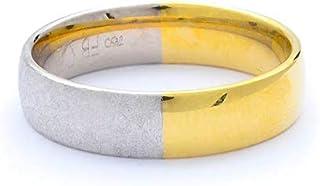 Breuning 18K White/Yellow Gold Matte & Shiny Finish 0.06ct Round cut Diamond Wedding Ring [BR6238]