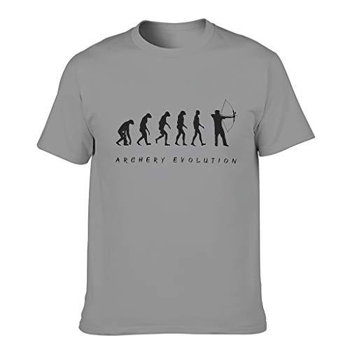 Ginald Mens Tiro con l'arco Evolution cotone T Shirt - Vacation Top Wear Grigio scuro M