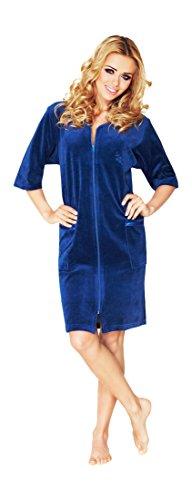 Damen Leichte Baumwolle Bademantel, Kurz Lange, Armel Und Reissverschluss Schliessen (Marine, 44)