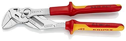 KNIPEX 86 06 250 Zangenschlüssel Zange und Schraubenschlüssel in einem Werkzeug verchromt isoliert mit Mehrkomponenten-Hüllen, VDE-geprüft 250 mm