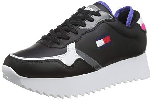 Tommy Hilfiger Damen Imogen 2a Sneaker, Schwarz (Black/Pink Glo/White 0go), 38 EU