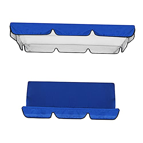 Fenteer Juego de Fundas de cojín para Columpio para Patio, Cubierta de Repuesto para toldo + Funda de Asiento Columpio para sillas Columpios de 3 plazas, Azul