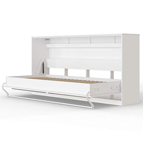 SMARTBett Standard 90x200 Horizontal Weiss Schrankbett | ausklappbares Wandbett, ideal geeignet als Wandklappbett fürs Gästezimmer, Büro, Wohnzimmer, Schlafzimmer