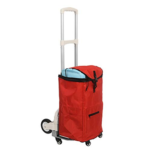 Sundale Outdoor Folding Hand Truck w/Wheels, Hook and Bag Durable Utility Cart Retractable Portable Grocery Cart for Luggage, Shopping, Office Use, Heavy Duty Aluminum Frame, 155-Pound Capacity, Red