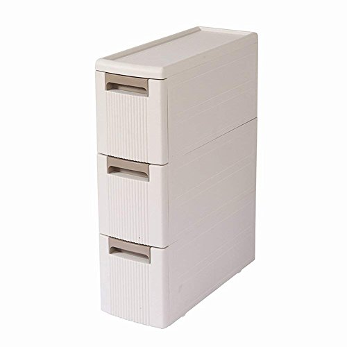 Boby 3 Storage Drawers Rolling Cart Organizer Plastic Drawers Unit on Wheels Tower Narrow Slim Container Cabinet for Bathroom Bedroom 17.7 x 7 x 24 Inches