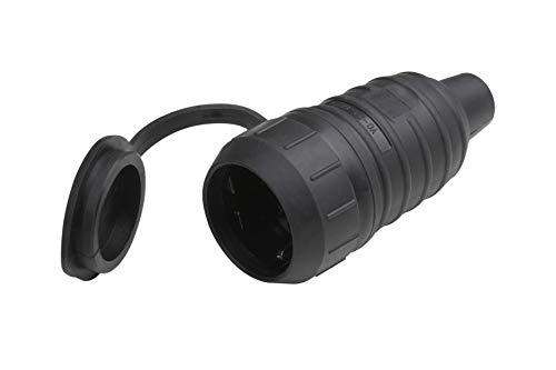 Meister Schutzkontakt-Kupplung - Gummi/Kunststoff - schwarz - 250 V - 16 A - Maximaler Kabelquerschnitt 2,5 mm² - IP44 Außenbereich - Zentrale Einführung / Schuko-Kupplung mit ISO-Einsatz / 7422520