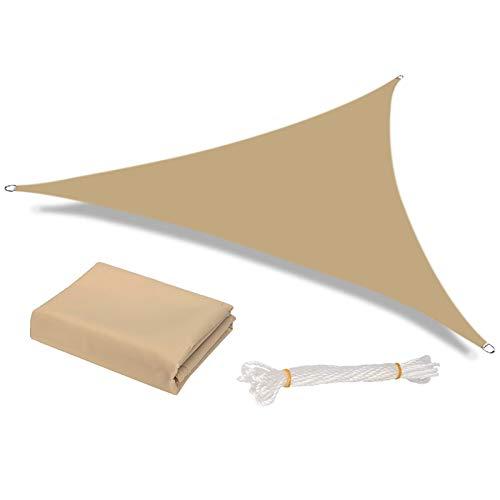 HEYOMART Sonnensegel Sonnenschutz inkl Befestigungsseile PES Polyester wasserabweisend Dreieck Sonnensegel mit 95% UV Schutz für Draußen, Patio, Garten Terrasse Camping (2 x 2 x 2m, Sand)